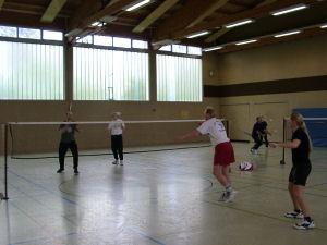 Badminton Doppel in Aktion