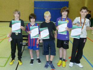 Tischtennis MINI-Meister bis 10 Jahre:Jan, Lucca, Lukas, Lucas und Julien